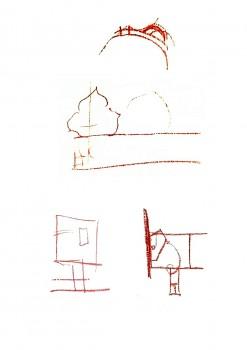 6 pav. Piešinio analizė: A – įėjimą į Karalių kriptą dengusi viduriniosios kriptos siena, B – karūna, C – Barboros Radvilaitės karstas, D – prie šiaurinės kriptos sienos esantis karstas ir jo išnešimas