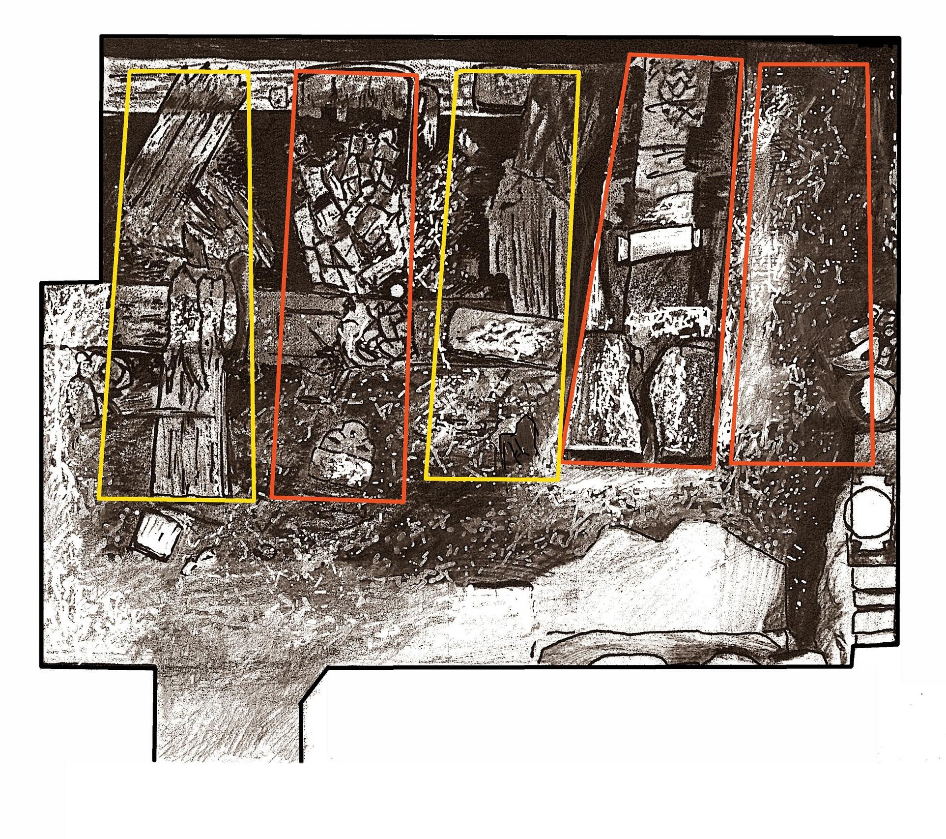 18 pav. Valdovų palaikų padėtis kriptoje su pažymėtomis karstų vietomis. Piešinio autorius S. Poderis