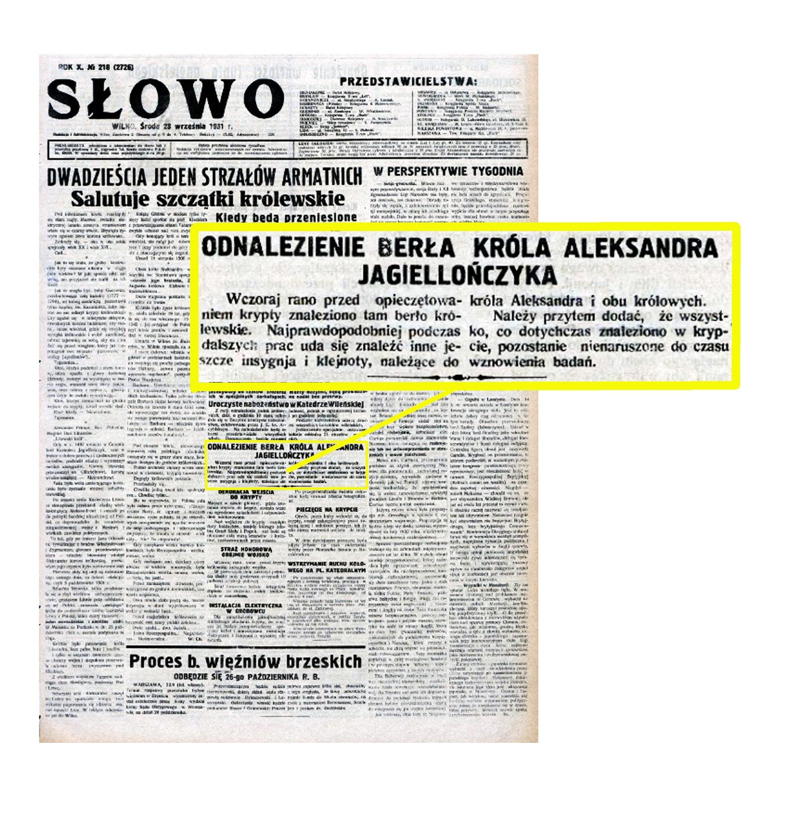 """19 pav. Žinutė dienraštyje """"Slowo"""", skelbianti Aleksandro Jogailaičio skeptro atradimą. 1931 m. rugsėjo 23 d."""