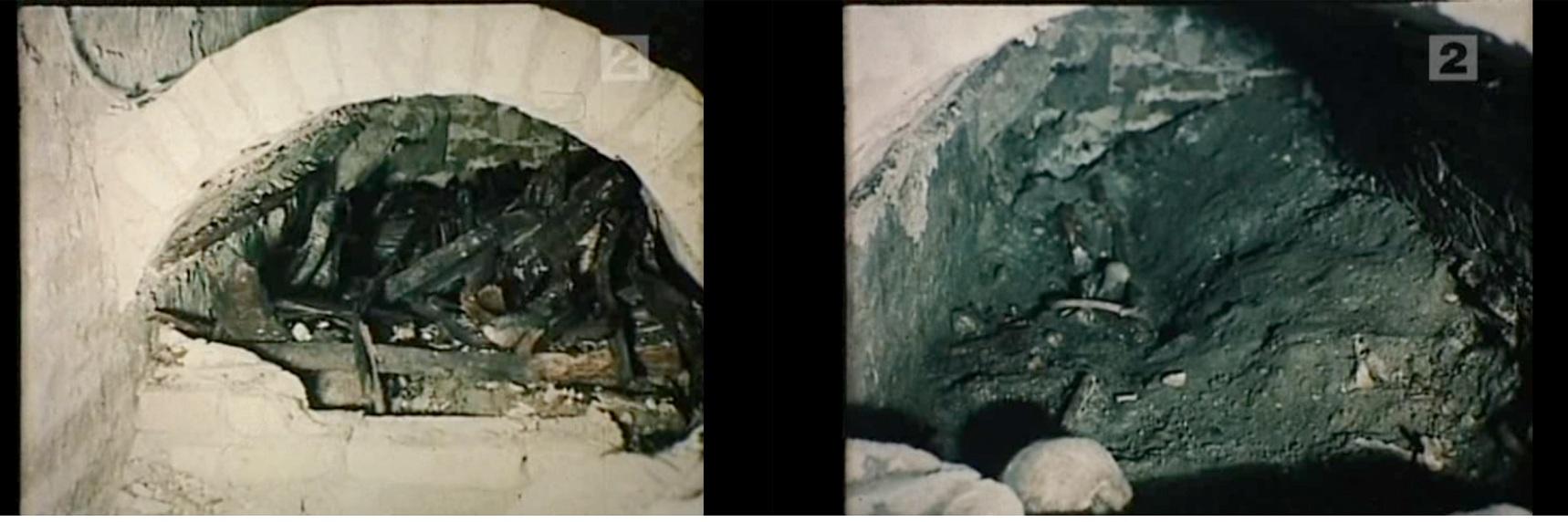 """21 pav. Tarpukariu įrengtos kriptos atidengimo momentai, ir joje atrasti palaikai. Kadruotė iš V. Urbanavičiaus filmo """"Vytauto didžiojo kapavietės"""""""