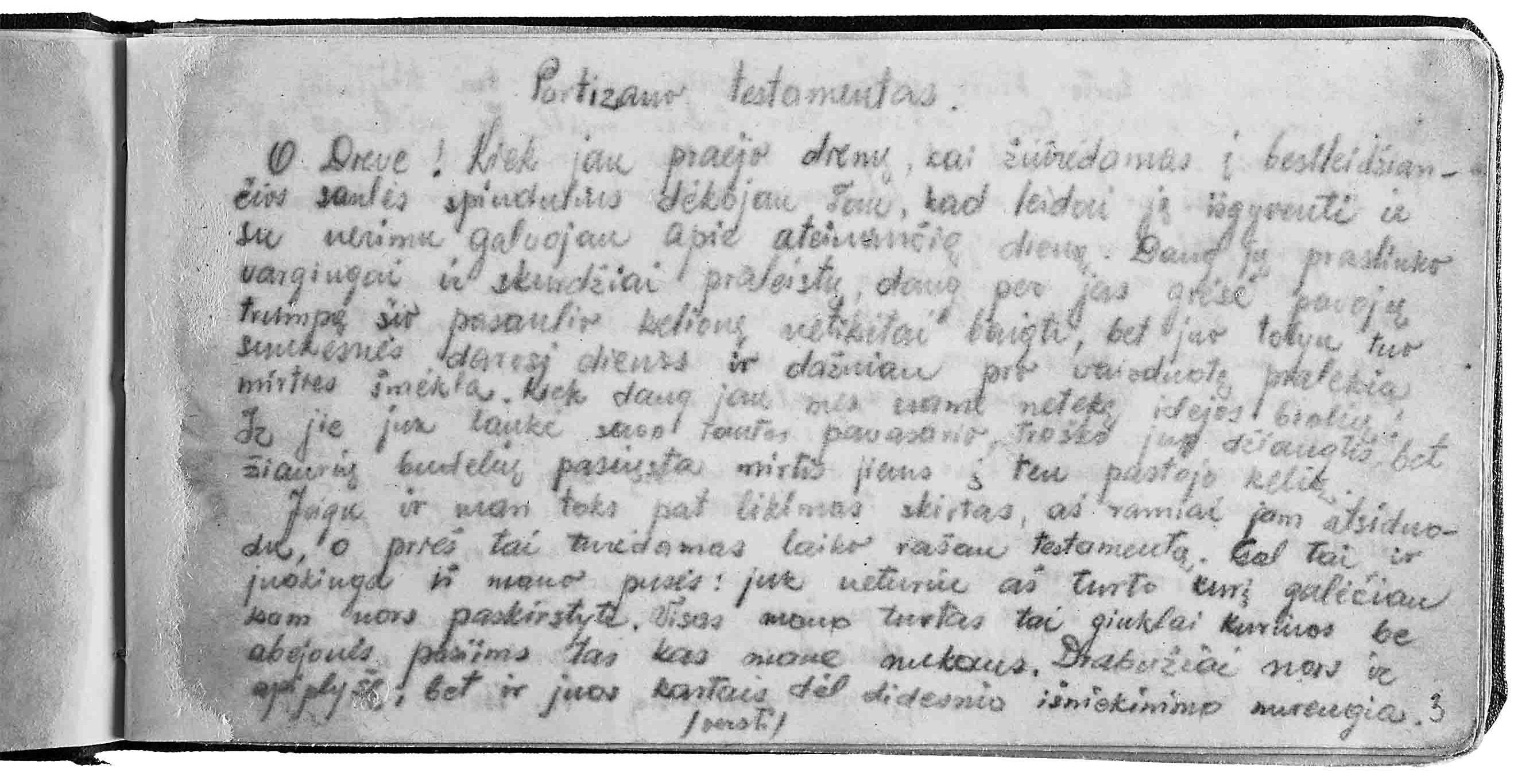 Balio Vaičėno parašytas partizano testamentas 1945 m. liepos 28 d. | Laisvės kovų muziejaus Obeliuose nuotr.