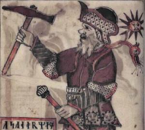 Toras su stebuklinguoju kūju, galios juosta ir krivūle |kb.dk,Danijos Karališkosios bibliotekos rankraščio nuotr.