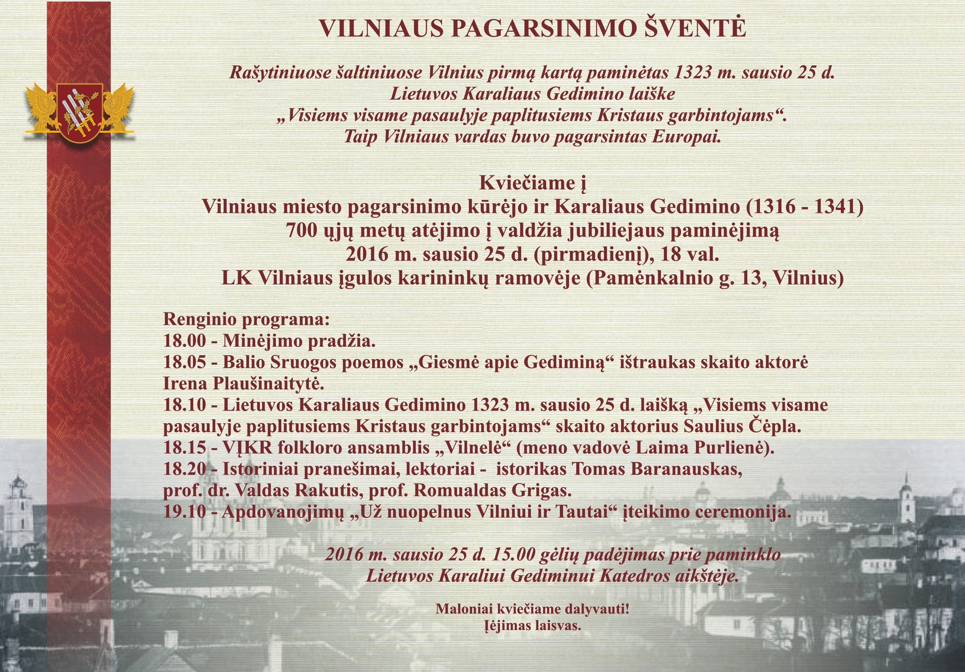 Vilniaus pagarsinimo šventės programa