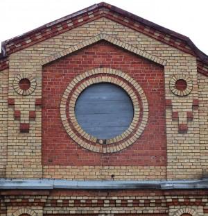 Simno sinagoga ŠR fasado frontono fragmentas | V. Mačiulaitytės nuotr.