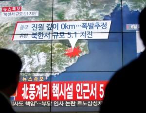 Šiaurės Koreja susprogdino vandenilinę bombą | Š. Korejos TV stop kadras