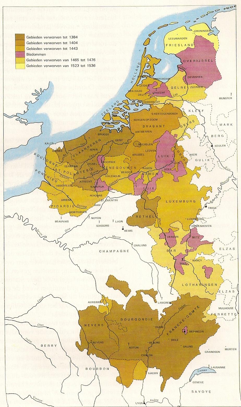 Beneliukso žemėlapis, pagal kurį buvo stilizuojamas liūto formos žemėlapis.