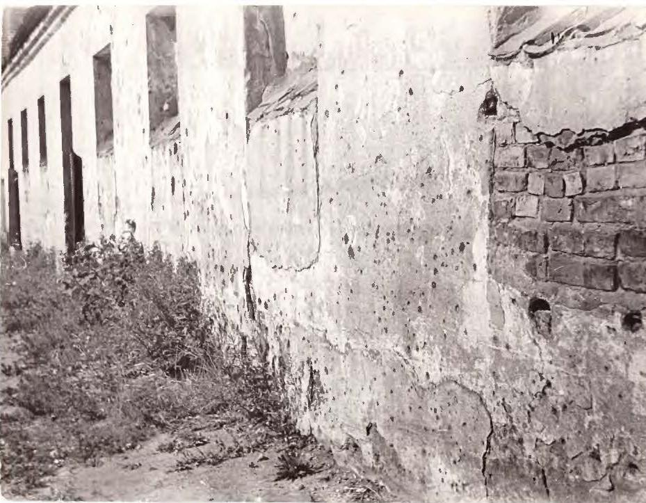 Sušaudyta siena Bokšto gatvėje einant Bastėjos link.   D. A. Mieliauskaitės nuotr.