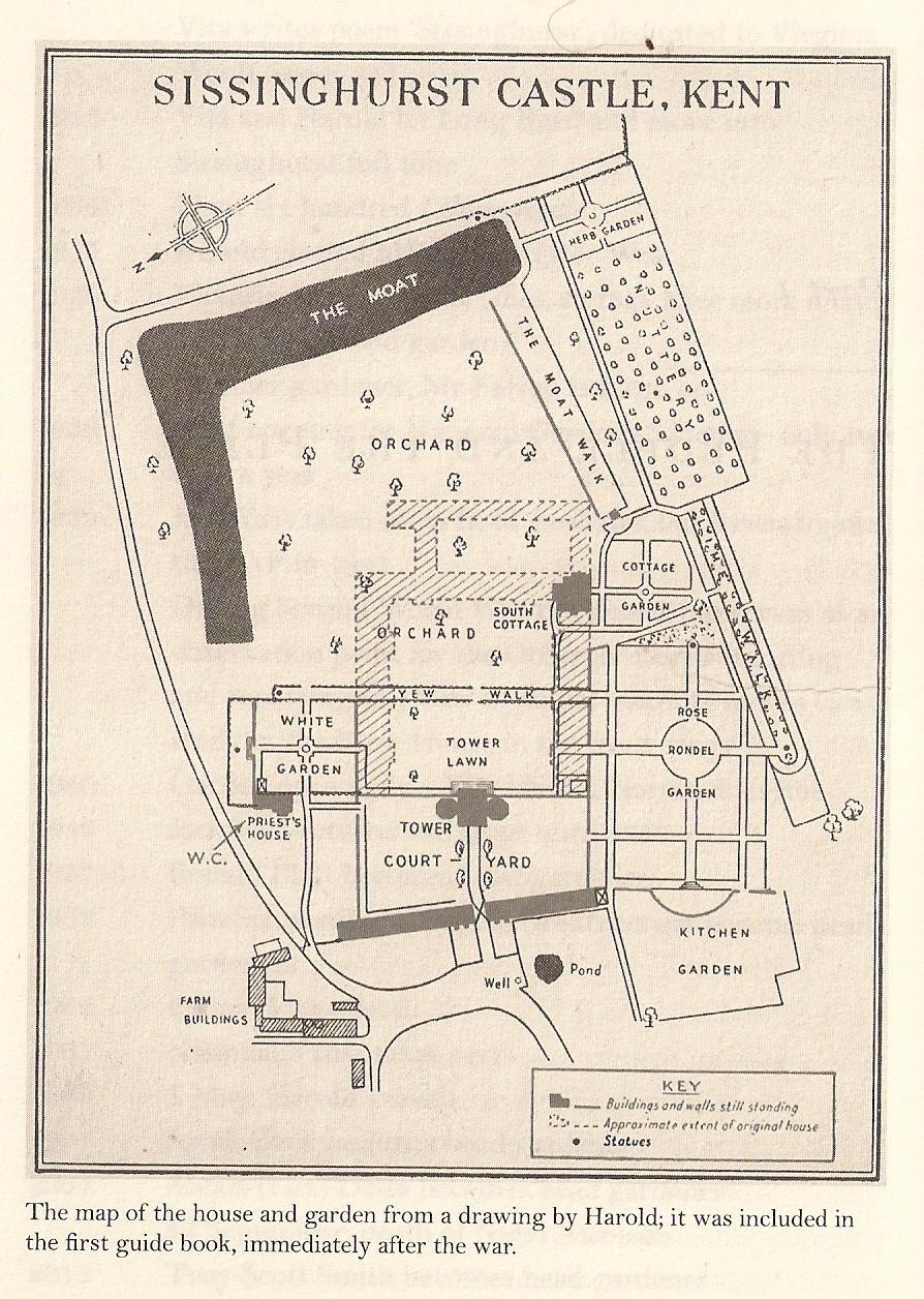 Sissinghurst pilies ir sodų planas