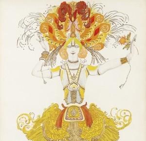 Levas Bakstas. Ugnies paukste.Baleto kostiumo eskizas 1922