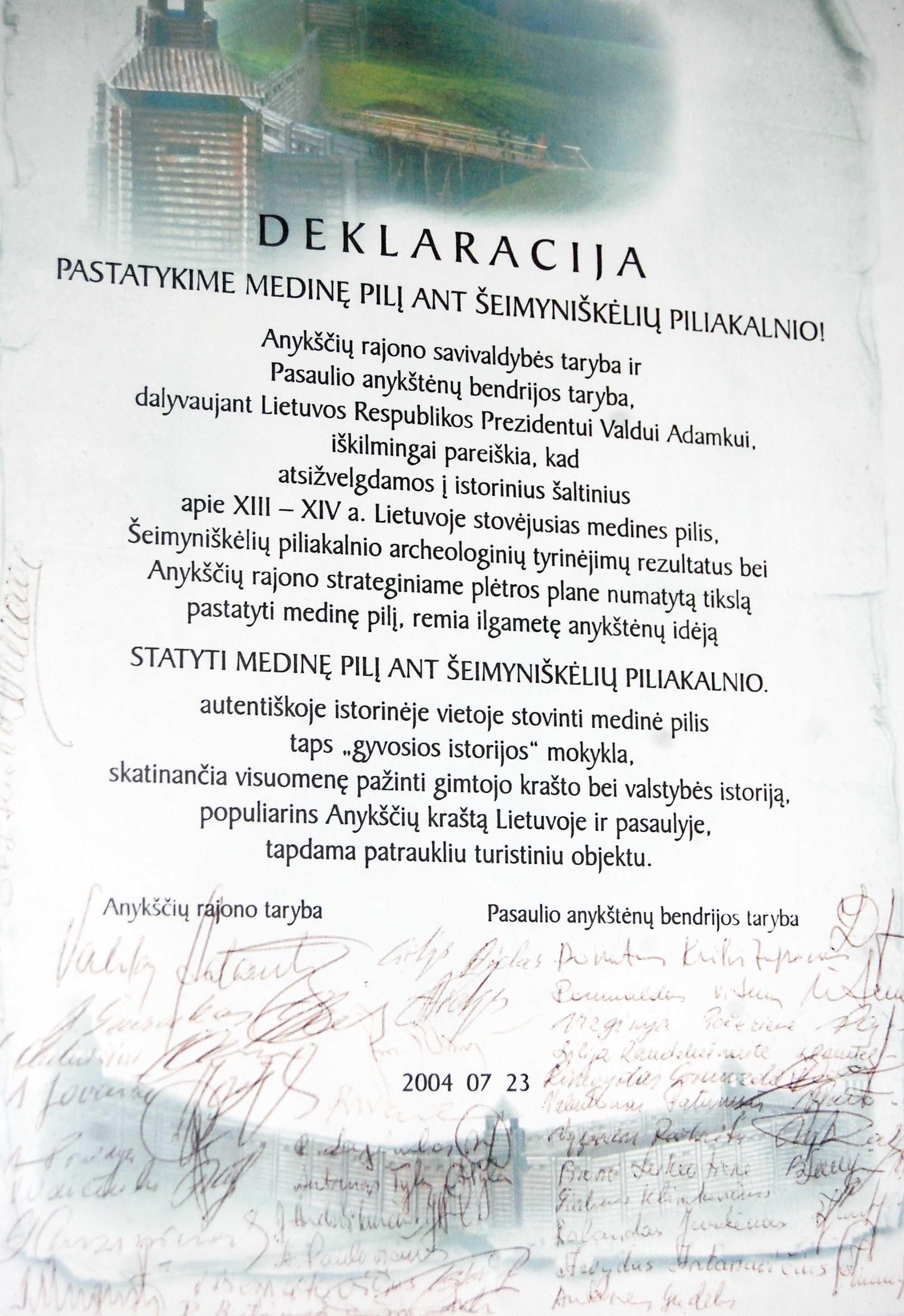 Vorutos pilies atstatymo deklaracija | Anyksciai.lt nuotr.
