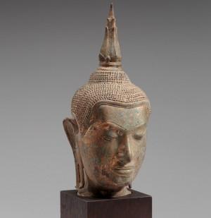 Budos galva. XVIII a. pab.–XIX a. pr. Bankokas, Tailandas (pirkta 1950). Vario lydinio liejinys, auksavimo pėdsakai | ldm.lt nuotr.