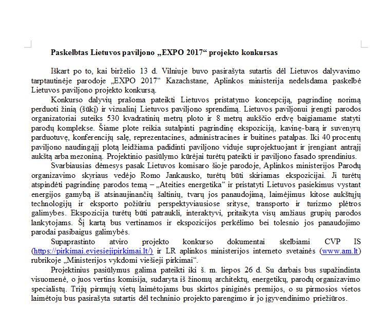 """Lietuvos paviljono """"EXPO 2017"""" projekto konkursas"""