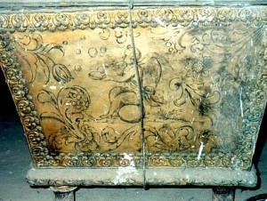 Radvilų mauzoliejaus sarkofagas Nesvyžiaus bažnyčios rūsiuose | KPD nuotr.