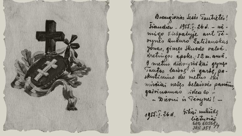 Gedulo atvirukas, kuriuo Spasko lagerio lietuviai pranešė moterų lageryje kalinčioms tautietėms apie Jono Žališausko mirtį. Kazachija, 1955 m. sausio 26 d. | Lietuvos nacionalinio muziejaus nuotr.