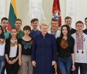 Lietuvos Prezidentė susitiko su mokiniais iš Luhansko | lrp.lt, R. Dačkaus nuotr.