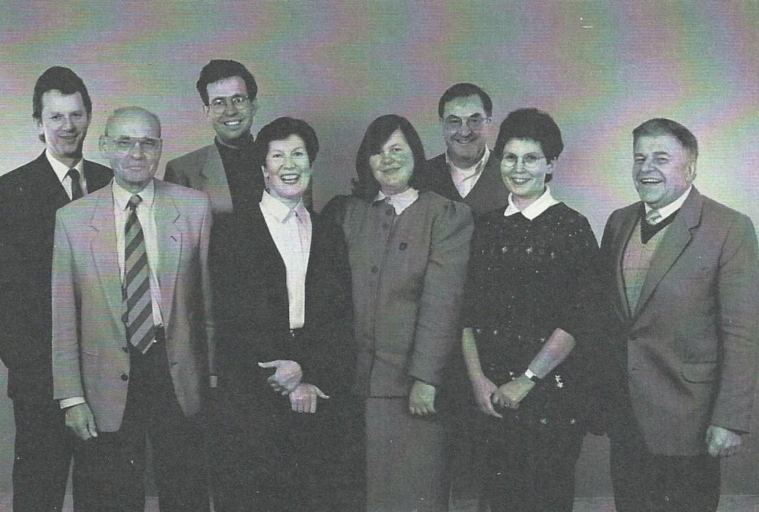 Kęstutis Jankauskas (ELTA generalinis direktorius) Juozas Eretas, Boris Koller, Birutė Eretaitė, Aldona Vasiliauskienė, Elmaras Koller, Julija Eretaitė-Koller, Algimantas Zolubas 1996 m. | A. Zolubo archyvinė nuotr.