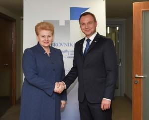 Lietuvos Respublikos Prezidentė Dalia Grybauskaite ir Lenkijos Prezidentas Andrzejus Duda_lrp.lt
