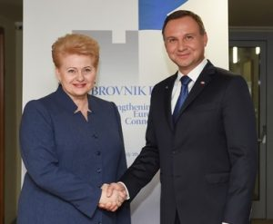 Lietuvos Respublikos Prezidentė Dalia Grybauskaite ir Lenkijos Prezidentas Andžejus Duda | lrp.lt nuotr.