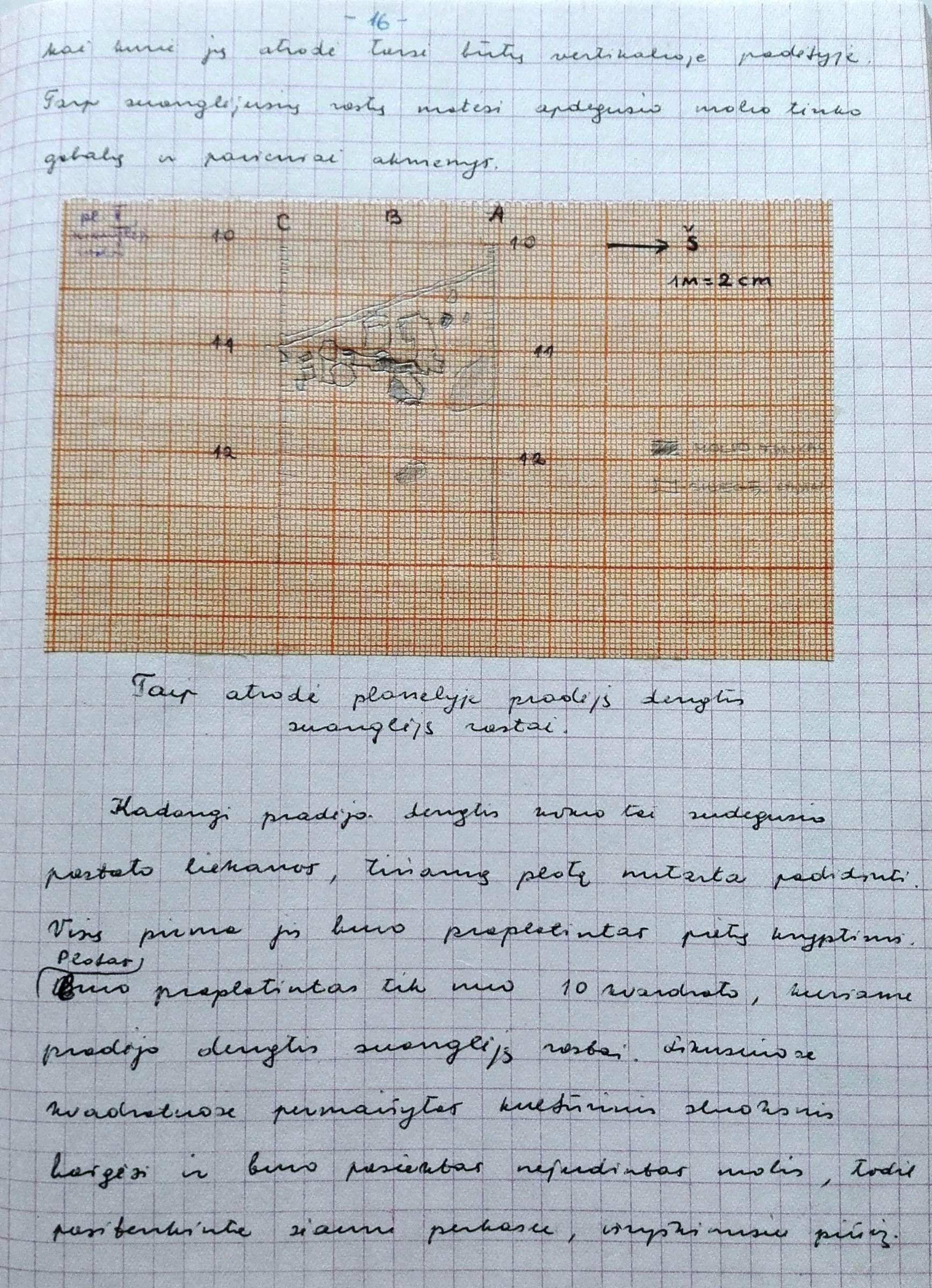 Iš tyrinėjimų dienoraščio Maišiagalos piliakalnis 1971 ir 1972 metai. Archeologiniai kasinėjimai | LMAVB RS F377-406 nuotr.