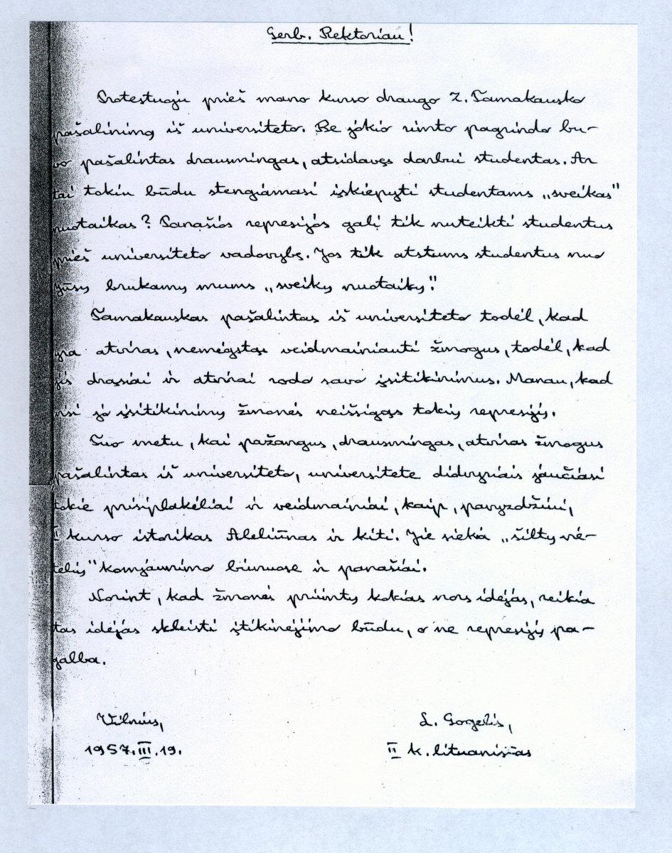 Leonardo Gogelio laiškas | Z. Tamakausko nuotr.