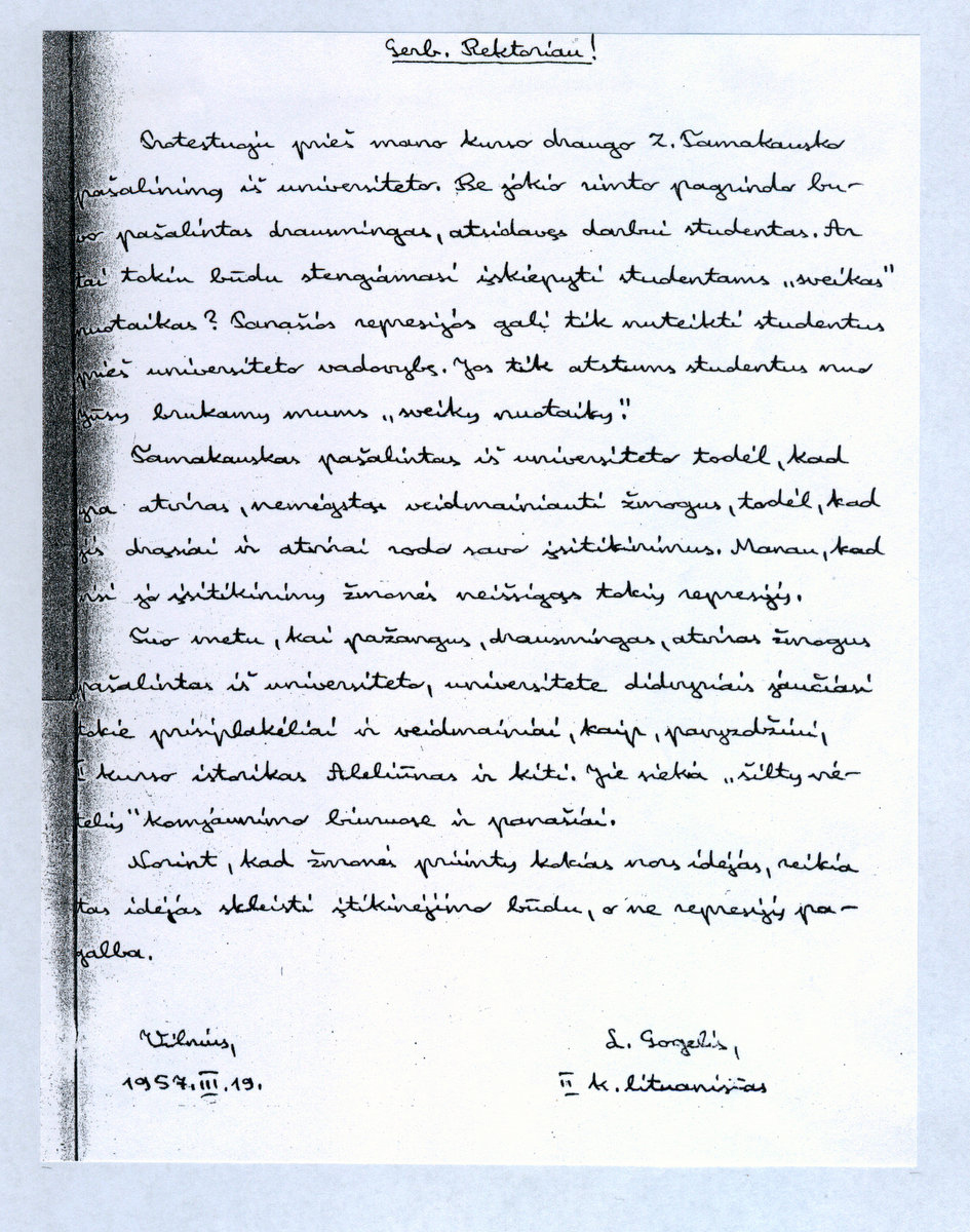 L. Gogelio laiškas | archyvinė nuotr.