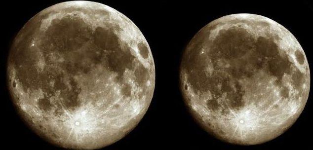 Kairėje – pilnatis perihelyje, dešinėje – pilnatis apogejuje | Alkas.lt nuotr.