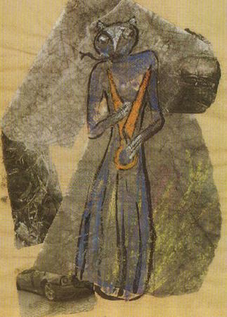 Giltinė. Genovaitės Jacėnaitės koliažas. 2003 m. (Senovės dievai ir mitinės būtybės. 25 psl.) | G. Jacėnaitės nuotr.