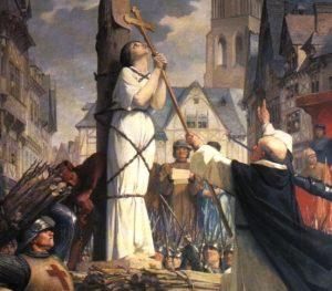 Žanos d'Ark sudeginimas 1431 m.   Žiulio Eženo Lenevjo (Jules Eugène Lenepveu 1819 – 1898) freskos fragmentas