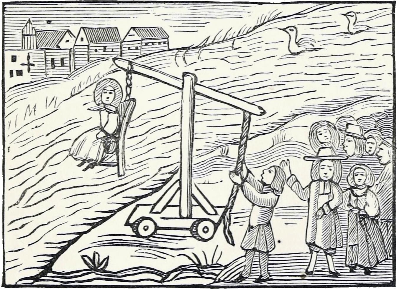 Raganos išbandymas. 18 a. nežinomo dailininko knygos iliustracijos kopija atlikta Džono Aštono (John Ashton) 1834 m. | wikipedia.org nuotr.