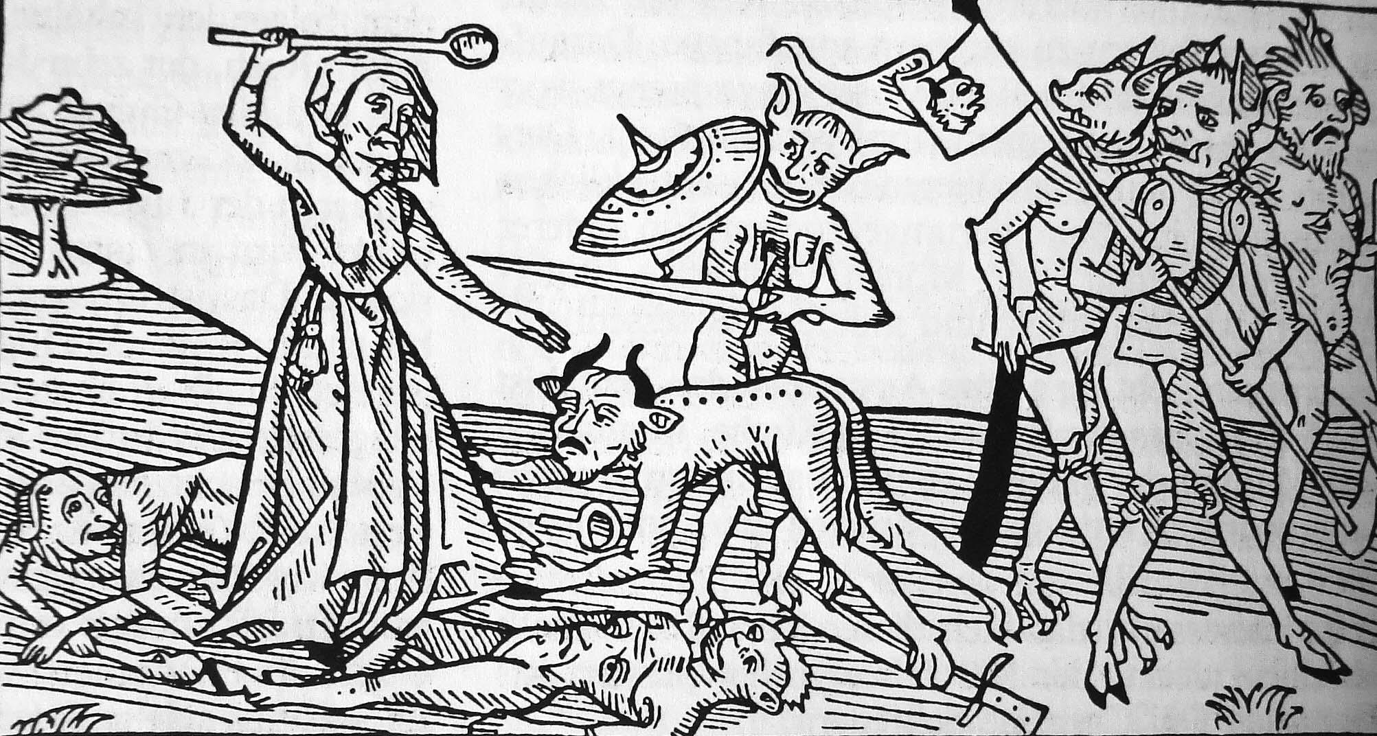 Ragana, kovojanti su septyniais velniais | XVI a. medžio raižinys (Wolf 1980: 598).