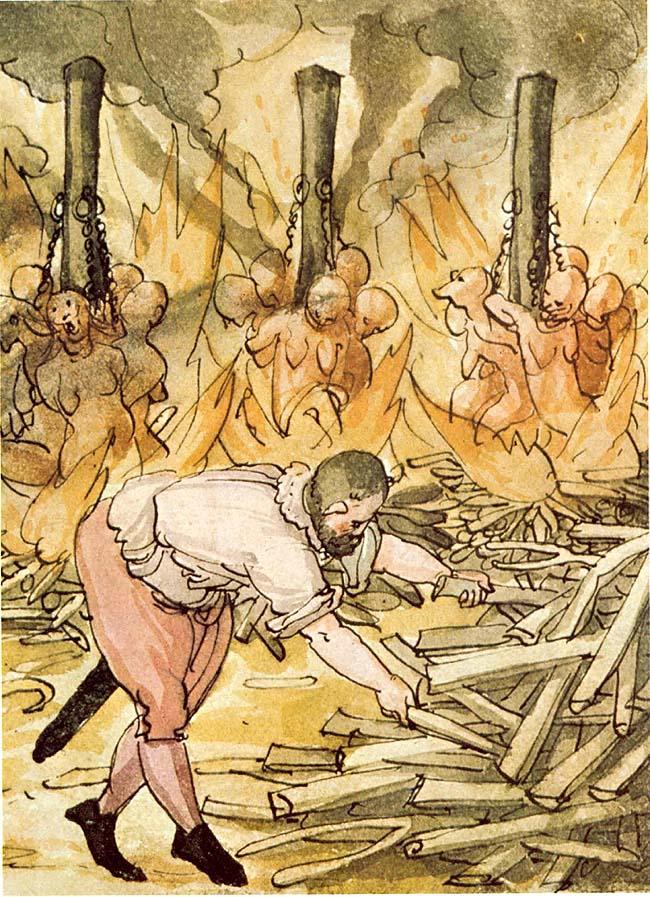 "Raganų deginimas 1587 m. Vokietijoje Protestantų dvasininko Johano Jakobo Viko (Johann Jakob Wick, 1522-1588) piešinys iš jo užrašų ""Wickiana"" (Sammlung des Johann Jakob Wick, Zentralbibliothek Zürich)   wikpedia.org nuotr."