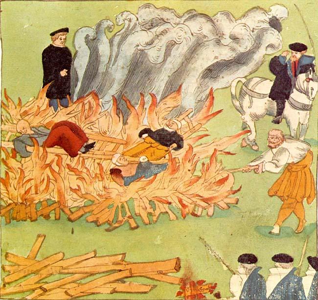 """Trijų raganų sudeginimas 1587 m. 1585 m. lapkričio 4d. Badene (Šveicarija). Protestantų dvasininko Johano Jakobo Viko (Johann Jakob Wick, 1522-1588) piešinys iš jo užrašų """"Wickiana"""" (Sammlung des Johann Jakob Wick, Zentralbibliothek Zürich)   wikpedia.org nuotr."""