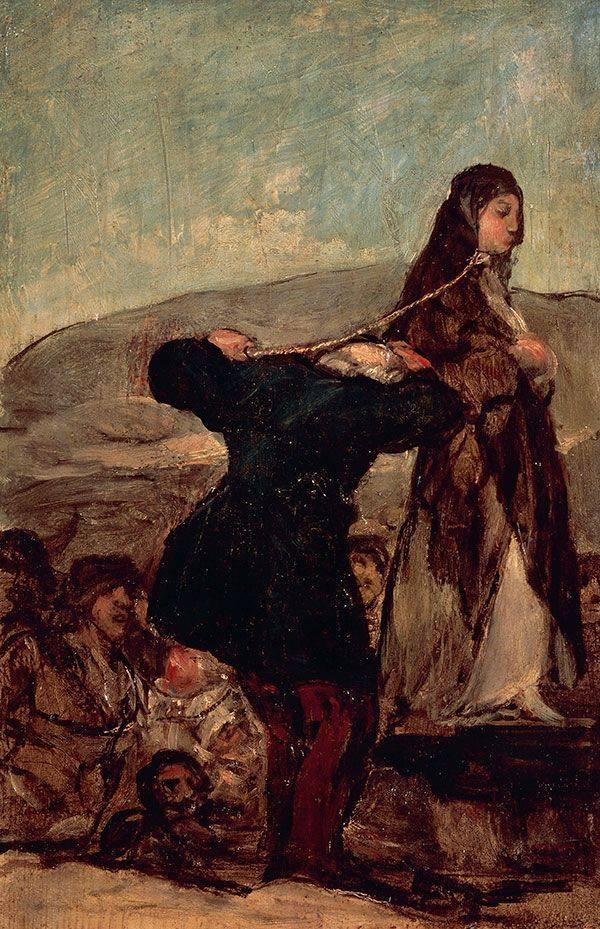 """Francisko Gojos (1746-1828) paveiklas """"Raganos egzekucija"""" 1820/1824 m."""