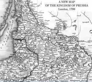 """Londone išleisto Prūsijos karalystės 1799 m. žemėlapio iškarpa su užrašu """"LITTLE LITHUANIA"""" – Mažoji Lietuva"""
