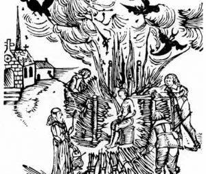 Viešas tėvo Urbano Grandierio (Urban Grandier) sudeginimas apkaltinus sutarties su Velniu sudarymu | Amžininko piešinys, Ludenas, 1634 m.