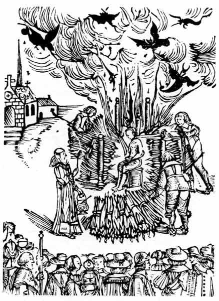 Viešas tėvo Urbano Grandierio (Urban Grandier) sudeginimas apkaltinus sutarties su Velniu sudarymu. Amžininko piešinys, Ludenas, 1634 m.