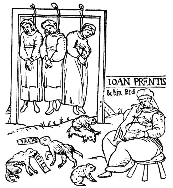 Viešai pakartos raganavimu apkaltintos 3 moterys: Džoan Prentis (Joan Prentice), Džoan Kionei (Joan Cony) Džoan Apnei (Joan Upney). Iš angliškos brošiūros, 1598 m.