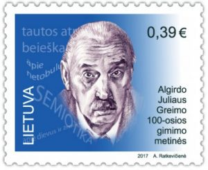 Pašto ženklas su  A. J. Greimu   post.lt nuotr.
