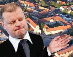 S. Skvernelis dosnia ranka Lenkijai padovanojo pranciškonų vienuolyną Vilniaus senamiestyje | Alkas.lt koliažas