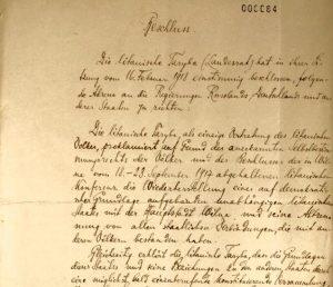 Vasario 16-osios akto originalas vokiečių kalba | www.facebook.com nuotr.