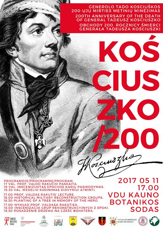 2017 metais minimos Tado Kosciuškos 200-osios mirties metines
