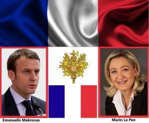 Prancūzija renka Prezidentą: E. Makronas prieš M. Le Pen | Alkas.lt koliažas