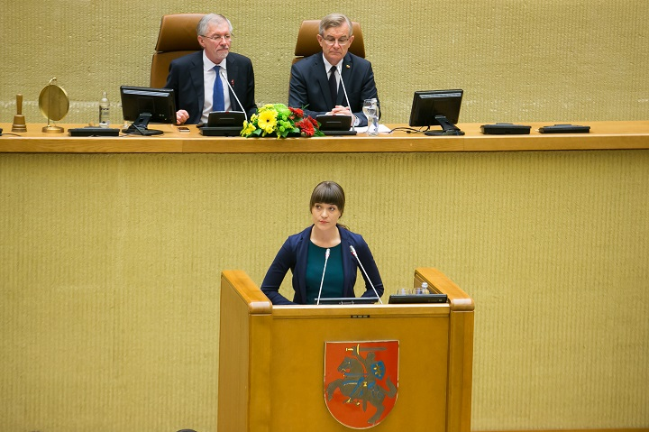 Kalba Seimo narė R. Morkūnaitė-Mikulėnienė, kurios giminaičiai buvo ištremti   lrs.lt, O. Posaškovos nuotr.