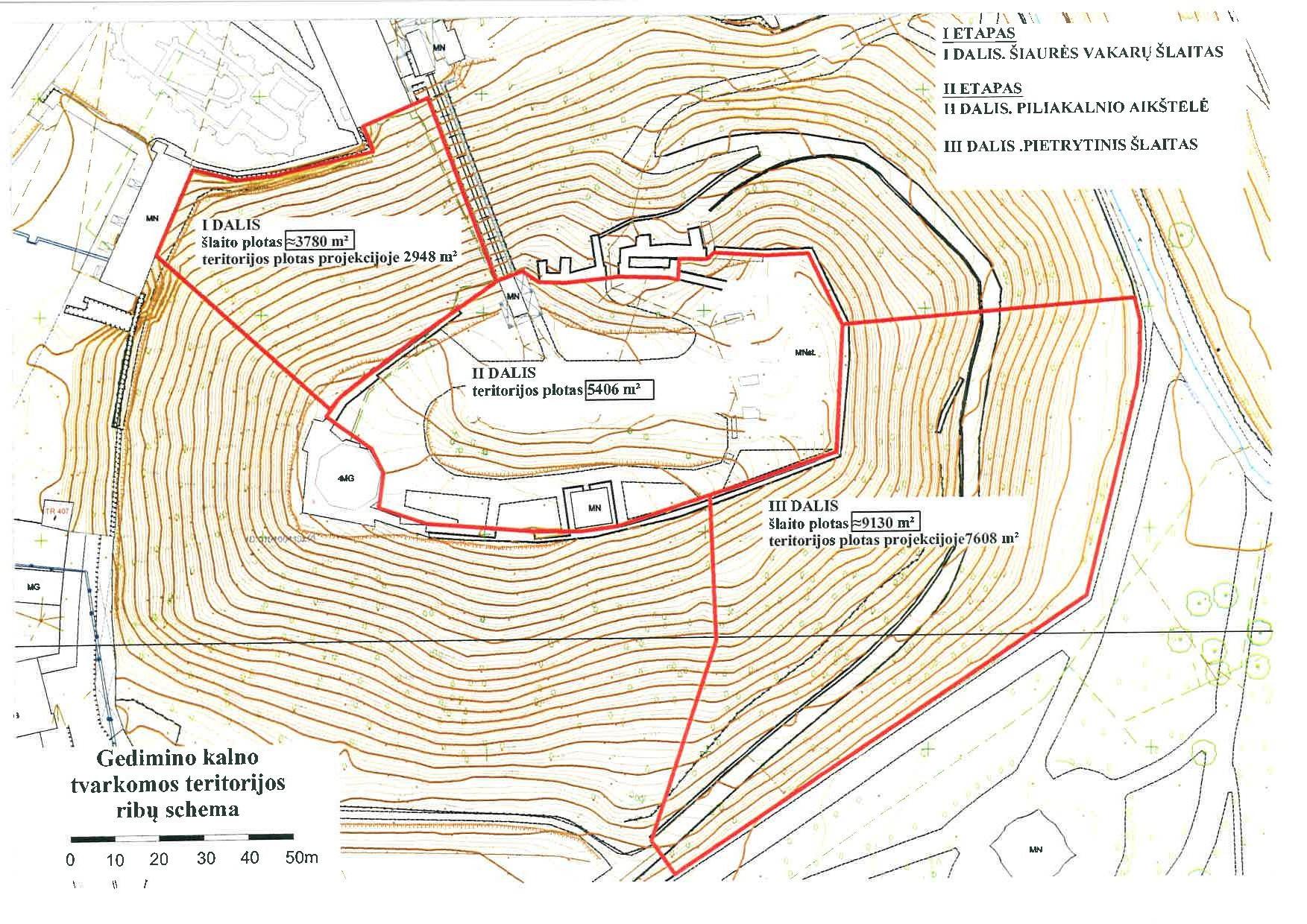 Gedimino kalno tvarkomos teritorijos ribų schema | LNM nuotr.