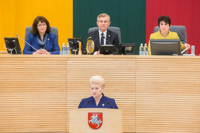 Lietuvos Respublikos Prezidentė Seimui pateikė metinį pranešimą | lrs.lt, O. Posaškovos nuotr.