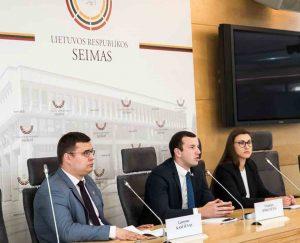 Seimo delegacijos ESBO Parlamentinėje Asamblėjoje spaudos konferencija | lrs.lt, Dž. G. Barysaitės nuotr.