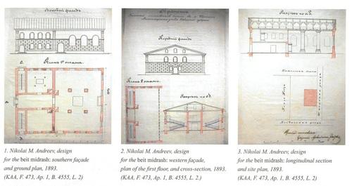 Šėtos žydų maldos namų priekinės pusės išklotinės, brėžiniai, pjūvis, planas, 1893 m. | Yaakov David Kamzon nuotr.