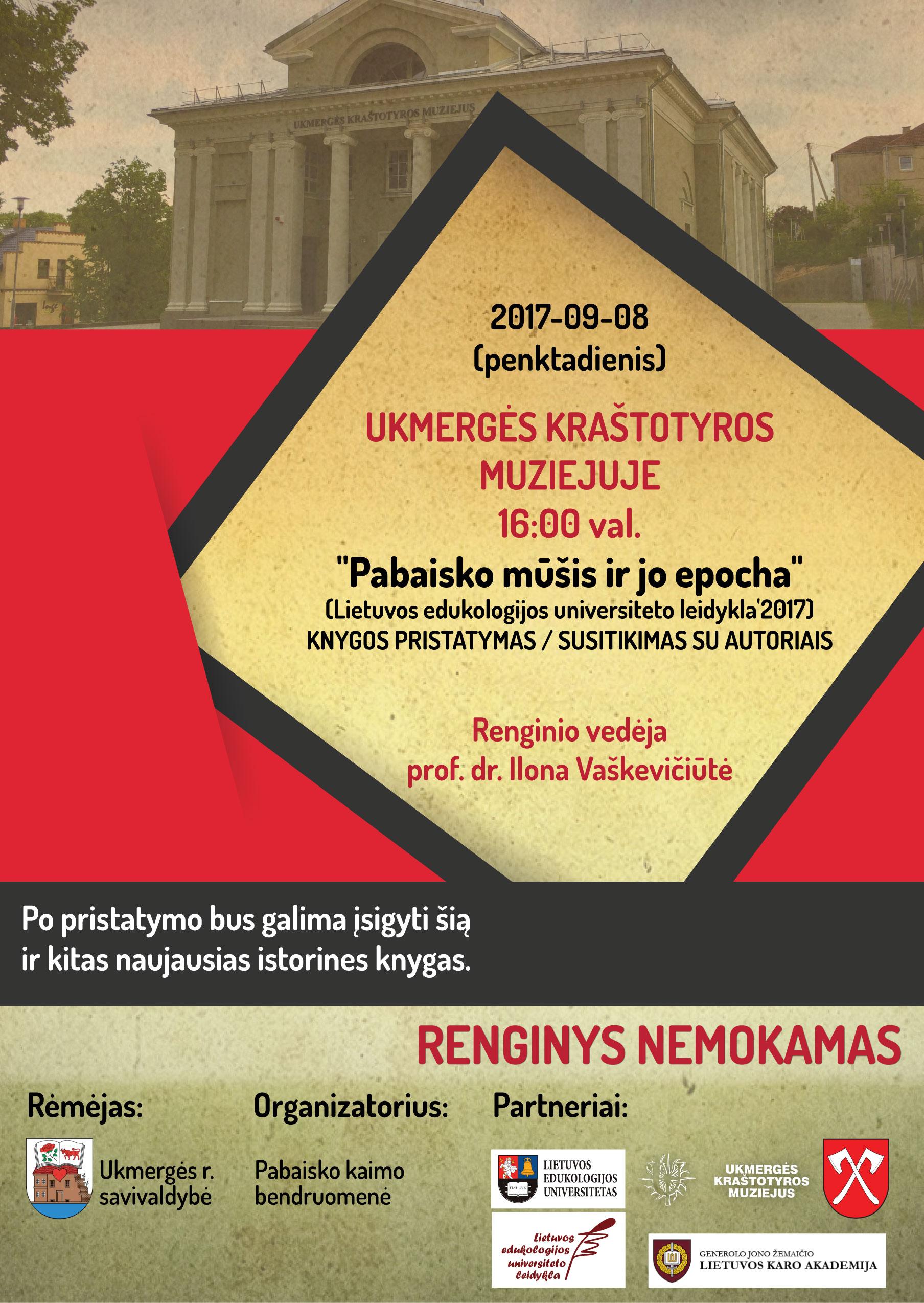 """Knygos """"Pabaisko mūšis ir jo epocha"""" pristatymo plakatas"""