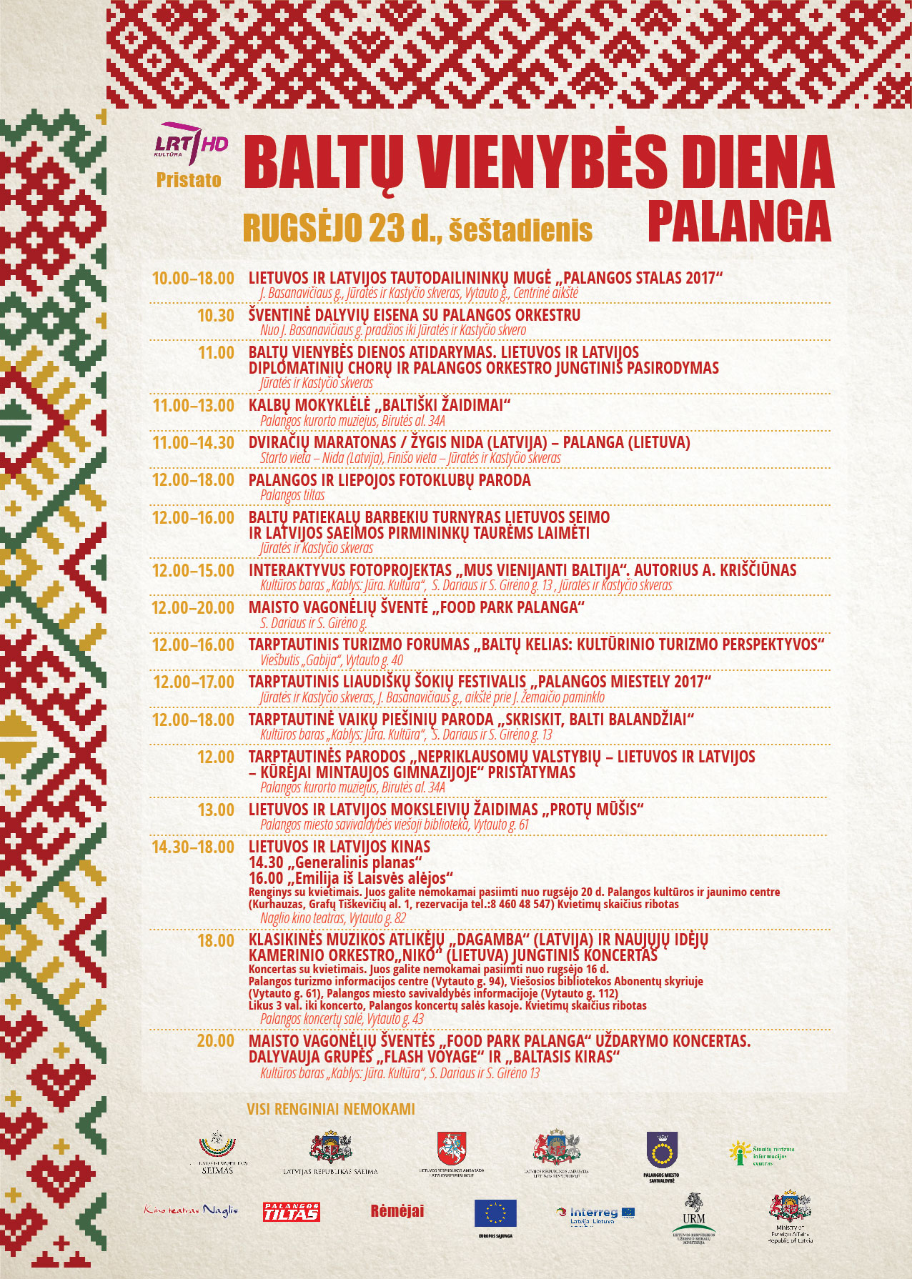 Baltu vienybes dienos programa Palangoje 2017 m.