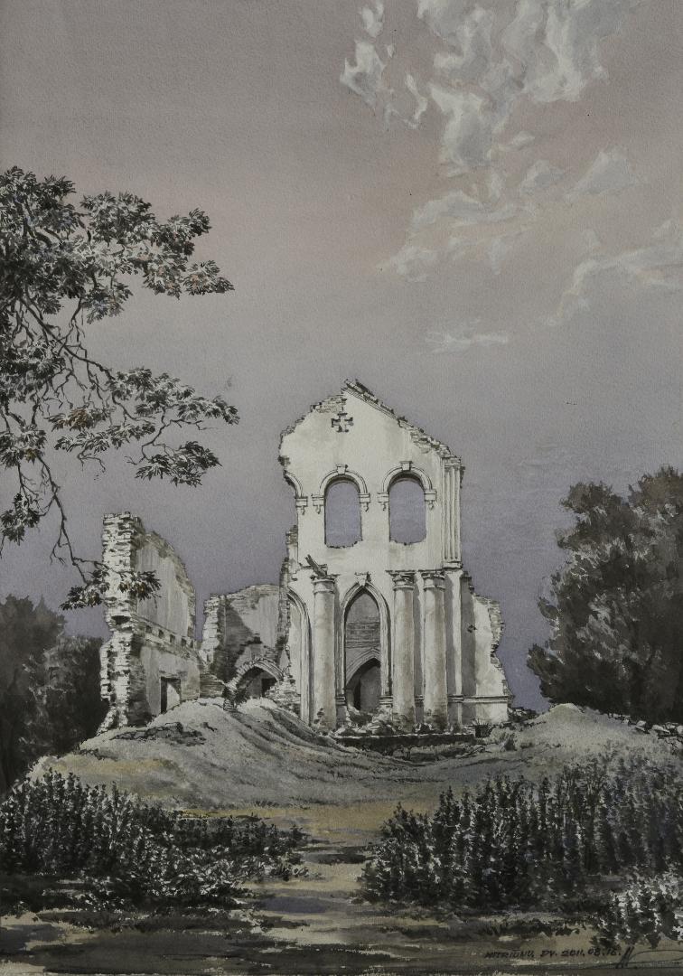 Mitriūnų dvaras. Panevėžio r. 2011. Popierius, akvarelė, tušas, sausas tušas, 51×71 cm | lnm.lt nuotr.